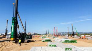P14 Cimentaciones working with Junttan rigs at the New Amazon Logistic Warehouse in Barcelona, Spain on September 2016.